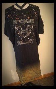 ASOS CURVE Heavy Metal distressed tshirt dress 22